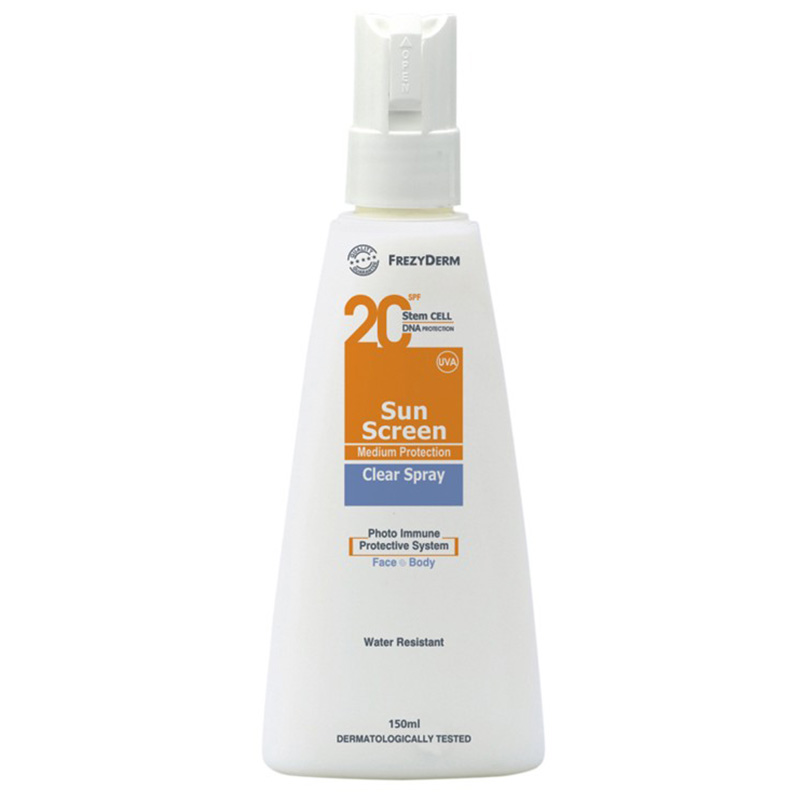 Frezyderm Clear Spray Αντηλιακό διάφανο spray σώματος Spf 20, 150Ml Zarachispharmacy Overespa