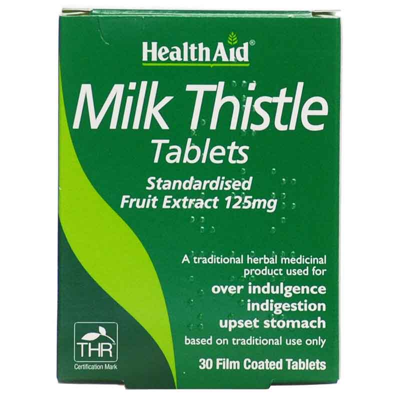 Health aid Milk Thistle Seed Extract 30 tablets Φυτοθεραπεία με ταμπλέτες που προστατεύουν το ήπαρ Zarachispharmacy Overespa